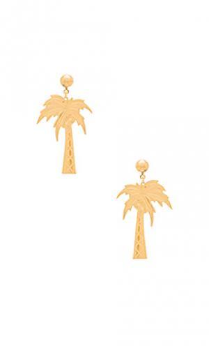 Серьги palm beach Frasier Sterling. Цвет: металлический золотой