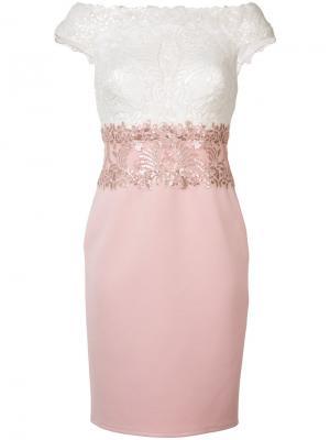 Платье Iwaki Tadashi Shoji. Цвет: розовый и фиолетовый