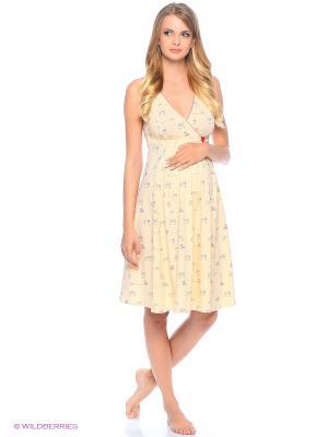 Сорочка женская для беременных и кормящих Hunny Mammy. Цвет: бежевый, красный