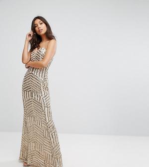 TFNC Платье-бандо макси с пайетками. Цвет: золотой