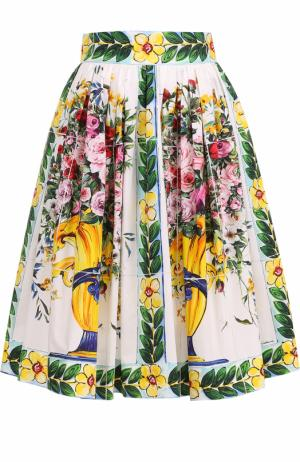 Хлопковая юбка-миди с ярким принтом Dolce & Gabbana. Цвет: зеленый