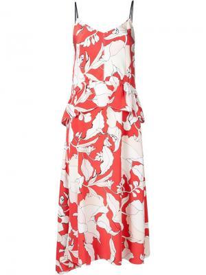 Платье с цветочным принтом Derek Lam 10 Crosby. Цвет: красный