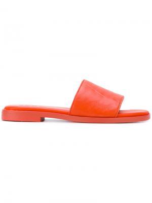 Классические шлепанцы DKNY. Цвет: жёлтый и оранжевый