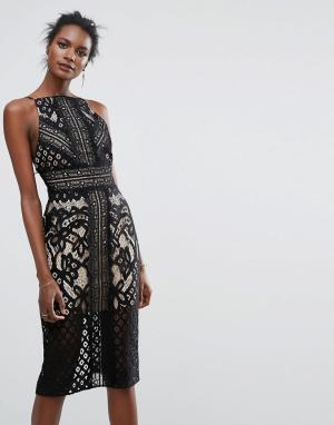 Keepsake Кружевное платье миди. Цвет: черный