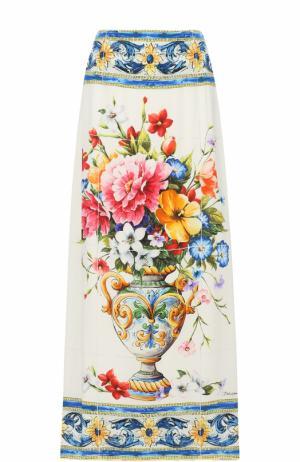 Шелковая юбка-макси с принтом Dolce & Gabbana. Цвет: разноцветный