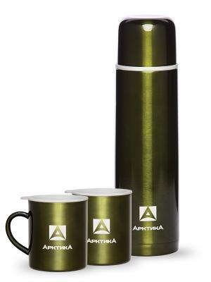 Подарочный набор, Арктика, термос 1000 мл, кружка 2 шт Арктика. Цвет: оливковый