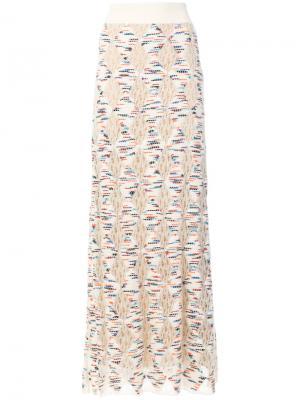 Трикотажная юбка макси Missoni. Цвет: телесный