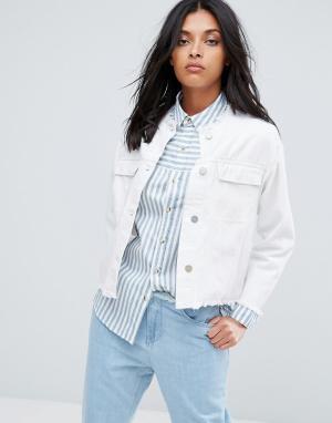 Waven Укороченная джинсовая оверсайз-куртка без воротника Hanna. Цвет: белый