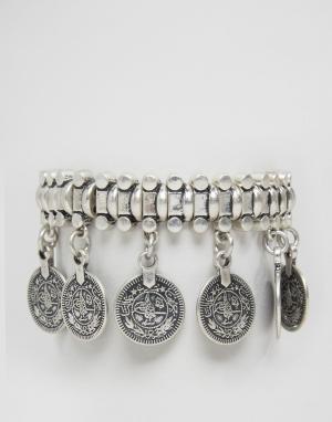 Pilgrim Массивный браслет с монетами. Цвет: серебряный