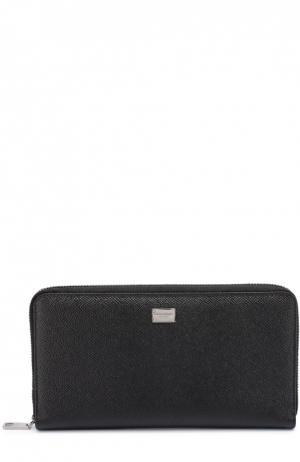Кожаное портмоне на молнии с отделением для кредитных карт Dolce & Gabbana. Цвет: черный