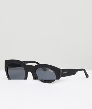 Quay Australia Черные круглые солнцезащитные очки If Only. Цвет: черный
