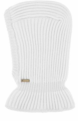 Шерстяная шапка фактурной вязки с воротником Il Trenino. Цвет: серый
