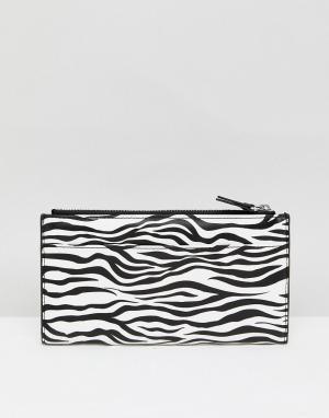 Monki Бумажник на молнии с зебровым принтом. Цвет: мульти