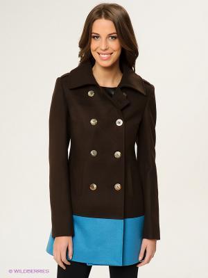 Пальто Fly Girl. Цвет: коричневый, голубой