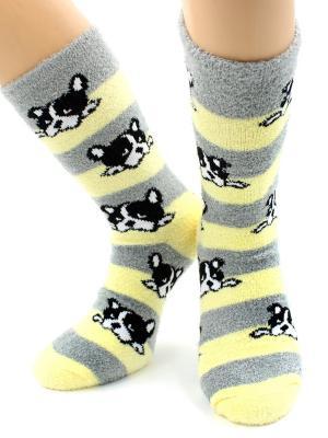 Носки махровые HOBBY LINE. Цвет: серый, желтый, черный