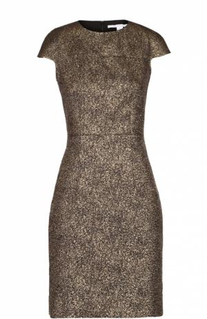 Приталенное мини-платье без рукавов с металлизированной отделкой Diane Von Furstenberg. Цвет: золотой