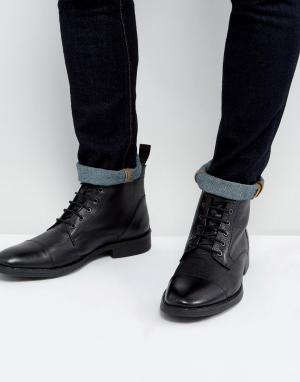 Dead Vintage Черные кожаные ботинки на шнуровке. Цвет: черный