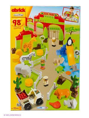 Конструктор Зоопарк, 70*57*26 см, 98 пр., 1/4 Ecoiffier. Цвет: зеленый, коричневый, оранжевый