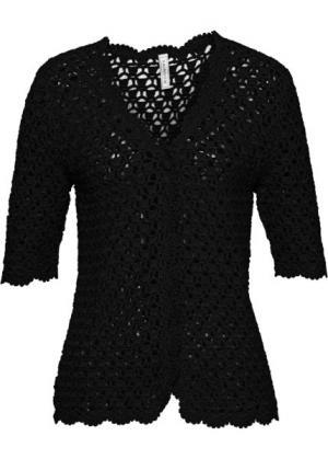 Плетеная жилетка (черный) bonprix. Цвет: черный