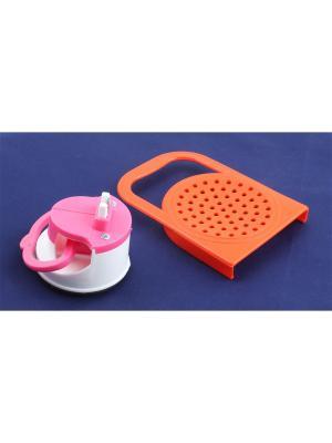 Точилка на присоске и крышка для слива с ручкой Радужки. Цвет: оранжевый, розовый