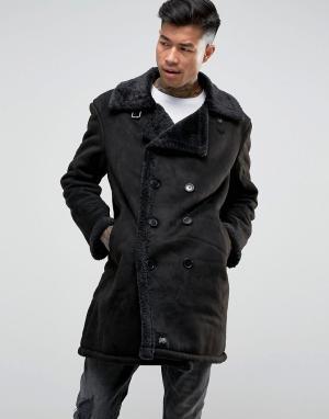 Sixth June Черное двубортное пальто из искусственной овчины. Цвет: черный