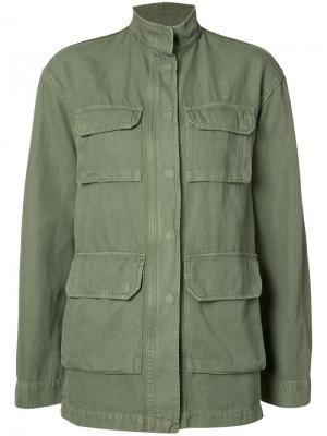 Широкая куртка в стиле милитари Nili Lotan. Цвет: зелёный