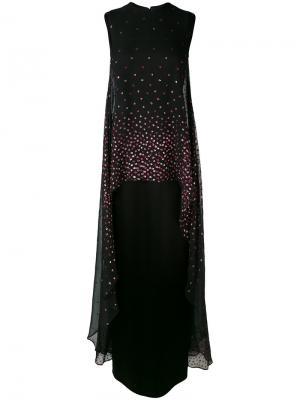 Декорированное длинное платье Talbot Runhof. Цвет: чёрный