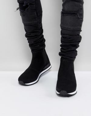 ASOS Черные кроссовки-челси из искусственной замши. Цвет: черный