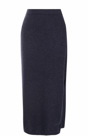 Вязаная юбка-миди с разрезом Tak.Ori. Цвет: синий