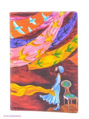 Обложка для паспорта Платки и птицы Mitya Veselkov. Цвет: красный, оранжевый, желтый, синий