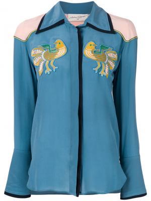 Рубашка с вышитыми нашивками Antonia Zander. Цвет: синий