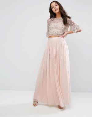 Needle & Thread Шифоновая юбка макси с отделкой металлик. Цвет: розовый