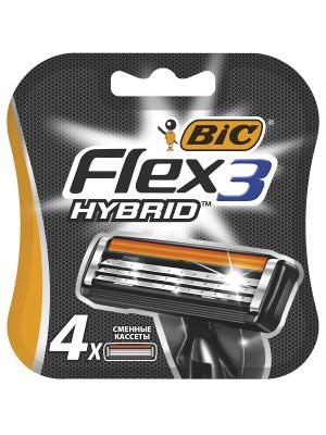 Картриджи для бритвы Flex 3 Hybrid 4 шт. BIC. Цвет: черный, оранжевый