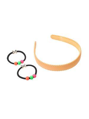 Комплект (Ободок - 1 шт., резинка 2 шт.) Olere. Цвет: бежевый, оранжевый, розовый, черный, зеленый