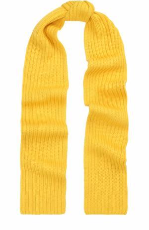 Шерстяной шарф фактурной вязки Neil Barrett. Цвет: желтый