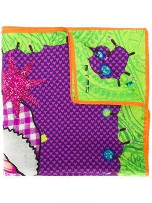 Платок King of Christmas Etro. Цвет: розовый и фиолетовый