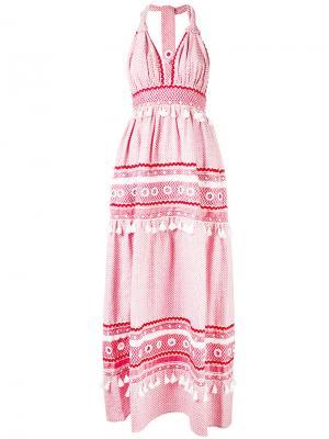 Tiered tassel halterneck dress Dodo Bar Or. Цвет: красный