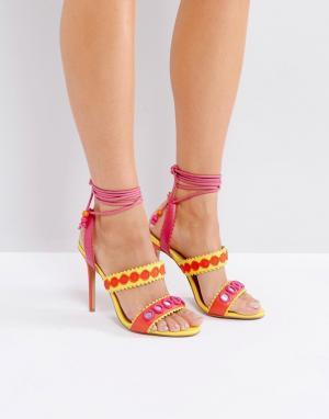 Forever Unique Босоножки на шнуровке и с ремешками. Цвет: мульти
