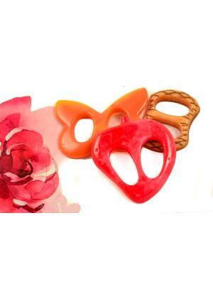 Пряжка Волшебная пуговица для шейного платка madam Пряжкина. Цвет: бежевый, красный, оранжевый
