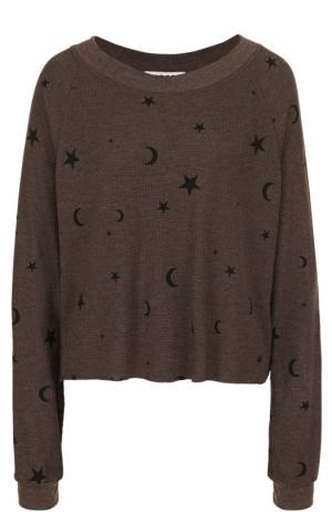 Пуловер свободного кроя с круглым вырезом и принтом Wildfox. Цвет: коричневый