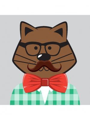 Картина hipster cat Ecoramka. Цвет: зеленый, коричневый, красный