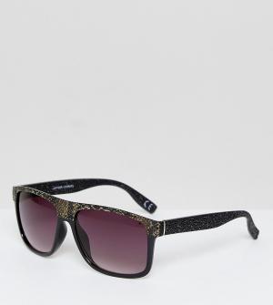 Jeepers Peepers Солнцезащитные очки-маска в оправе со змеиным принтом и градиентными с. Цвет: черный
