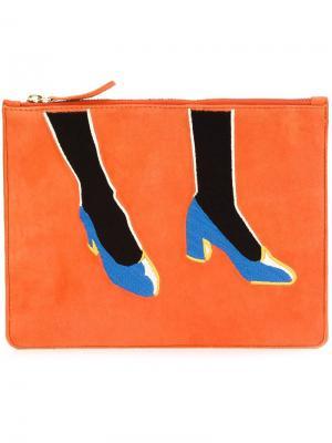 Shoes print clutch Lizzie Fortunato Jewels. Цвет: жёлтый и оранжевый