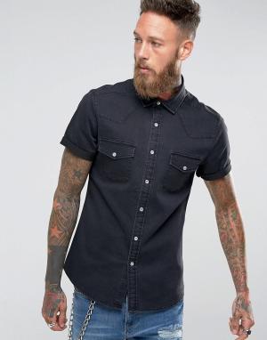 ASOS Эластичная узкая джинсовая рубашка черного цвета. Цвет: черный