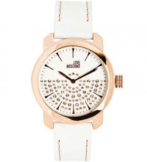 Часы с корпусом из стали золотистым покрытием Moschino
