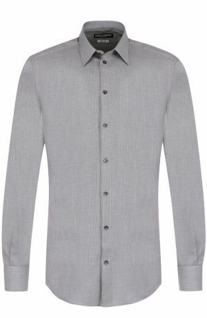 Хлопковая сорочка с воротником кент Dolce & Gabbana. Цвет: черно-белый