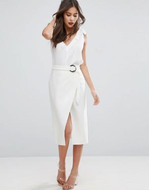 ASOS Асимметричная юбка-карандаш с D-образным кольцом. Цвет: белый