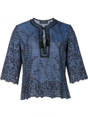 Блузка с вышивкой Yigal Azrouel. Цвет: синий