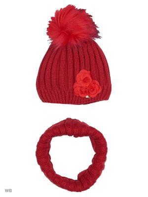 Комплект: шапка, шарф RACCOON YELLOW. Цвет: темно-красный