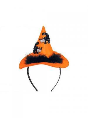 Ободок шляпка с кошкой Marko Ferenzo. Цвет: оранжевый